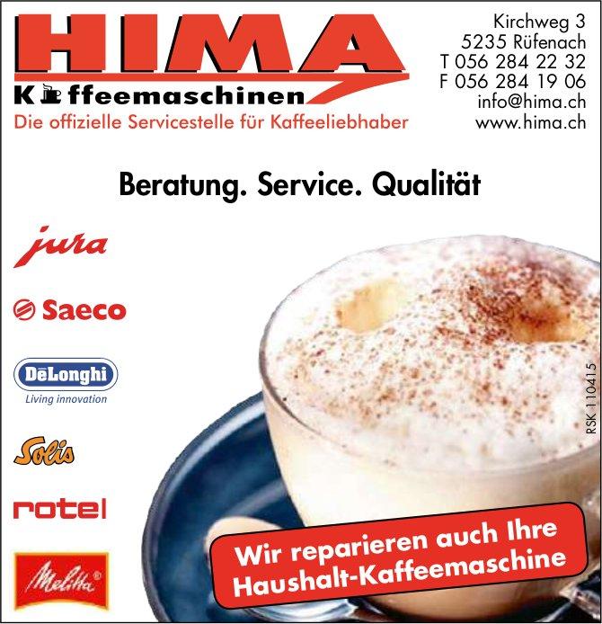 HIMA Kaffeemaschinen, Rüfenach - Beratung. Service. Qualität