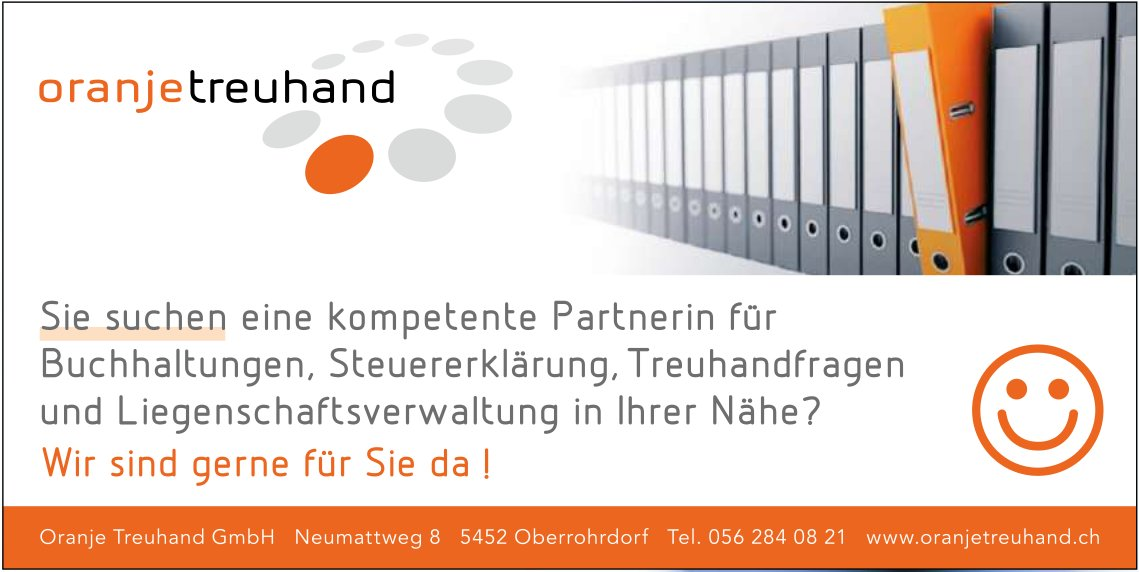 Oranje Treuhand GmbH - Wir sind gerne für Sie da!