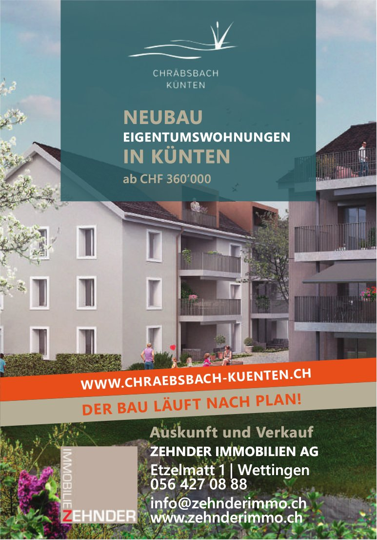 Eigentumswohnungen, Künten, zu verkaufen