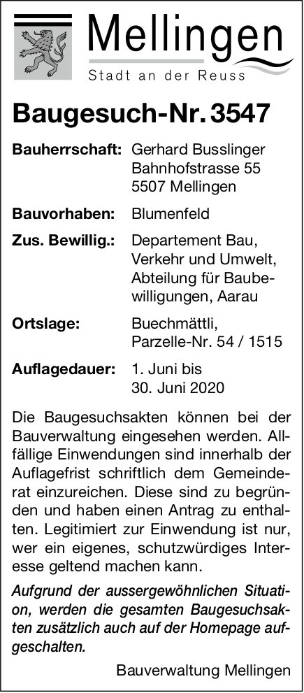 Baugesuche,  Mellingen