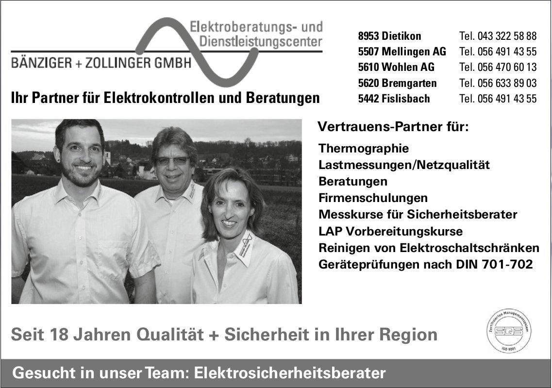 Elektrosicherheitsberater, Bänziger + Zollinger GmbH, Dietikon, gesucht