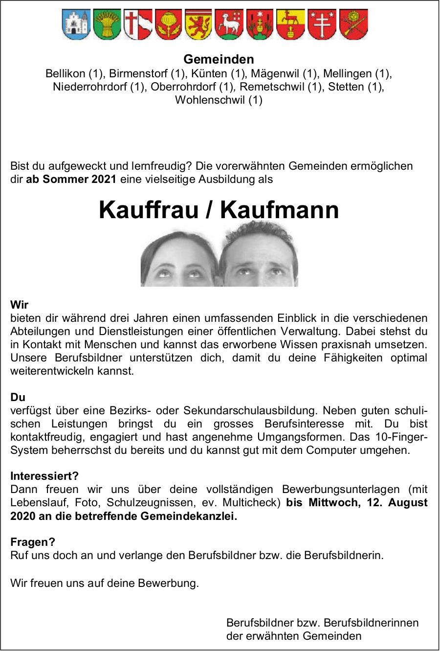 Lehrstelle 2020, Kauffrau / Kaufmann, Bellikon,  zu vergeben