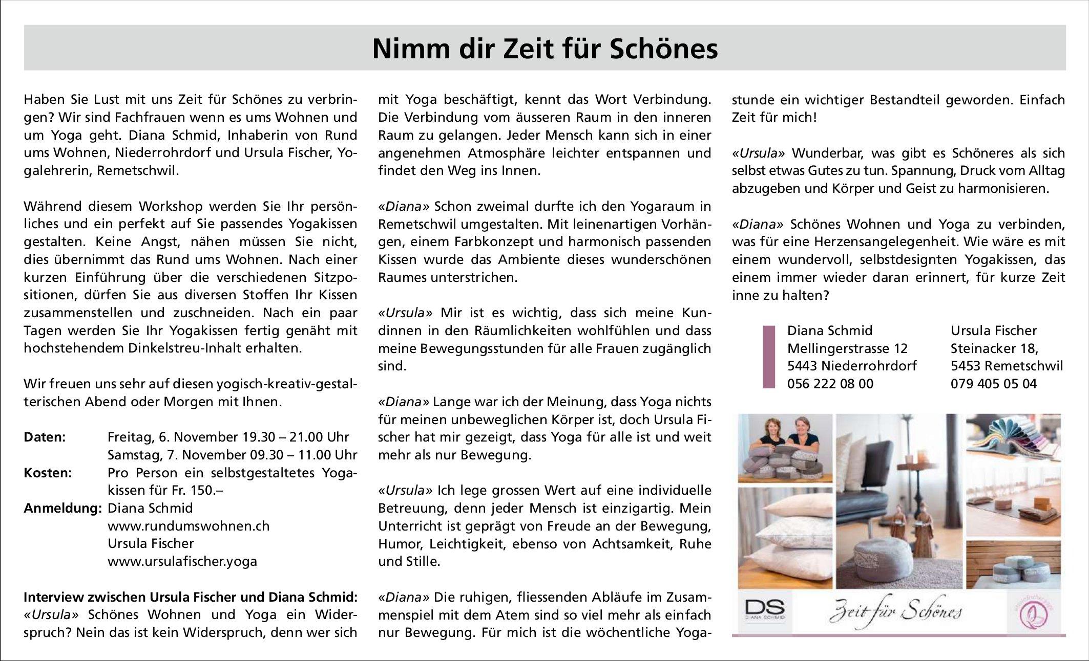 Workshop, 6. und 7. November, Diana Schmid, Niederrohrdorf