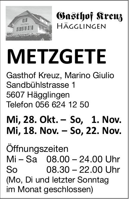 Metzgete, 28. Oktober bis 22. November, Gasthof Kreuz, Hägglingen