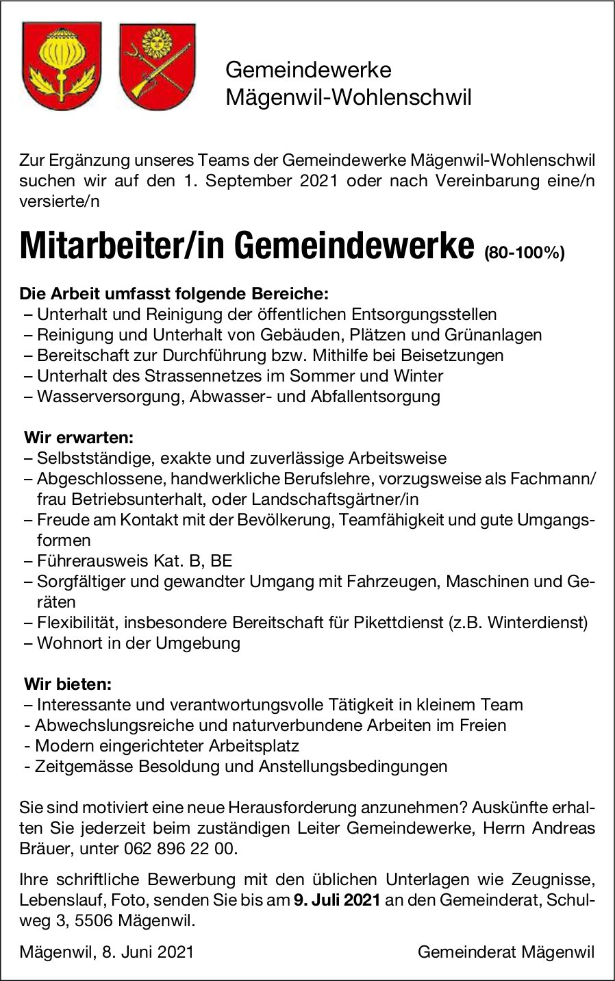 Mitarbeiter/in Gemeindewerke (80-100%), Gemeinde, Mägenwil-Wohlenschwil, gesucht