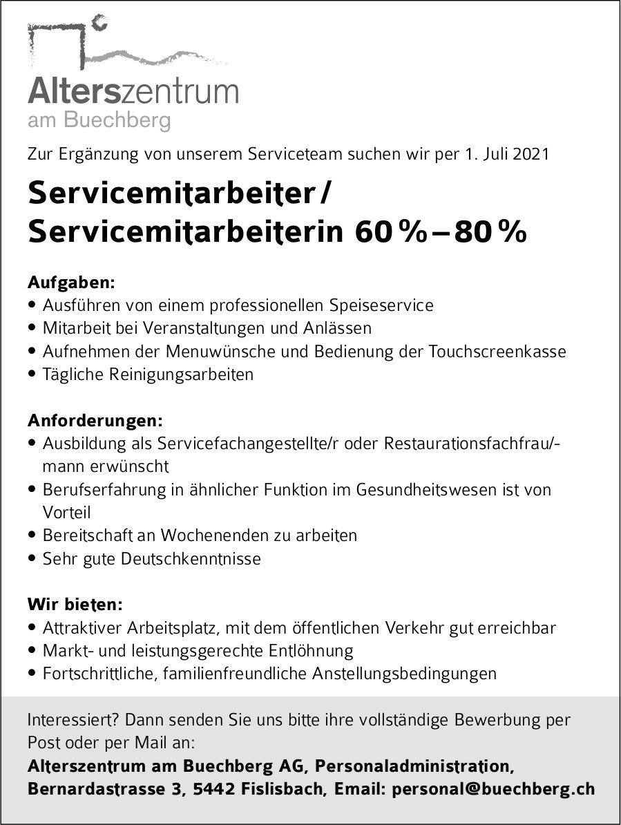 Servicemitarbeiter / Servicemitarbeiterin 60 % – 80 %, Alterszentrum Buechberg AG, Fislisbach, gesucht