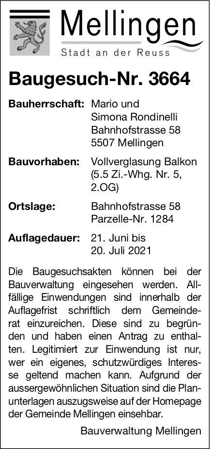 Baugesuche, Mellingen - Baugesuch-Nr. 3664