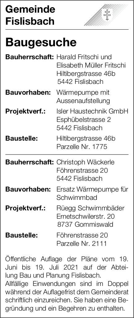Baugesuche, Fislisbach - Isler Haustechnik GmbH, Baugesuche