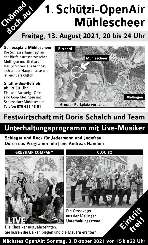 1. Schützi-OpenAir, 3. Oktober, Schiessplatz Mühlescheer