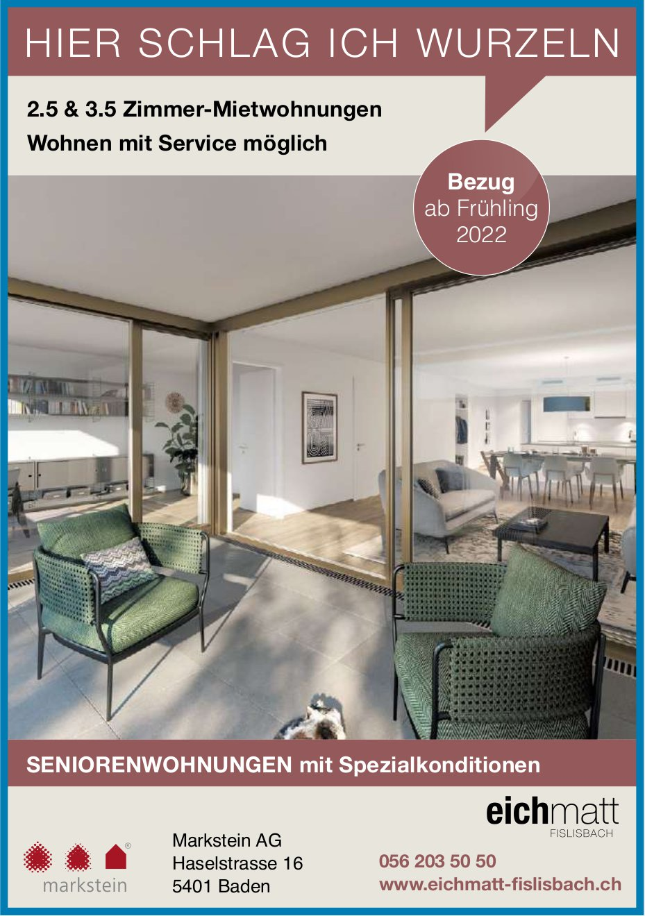 2.5- und 3.5-Zimmer-Seniorenwohnungen, Eichmatt, Fislisbach, zu vermieten