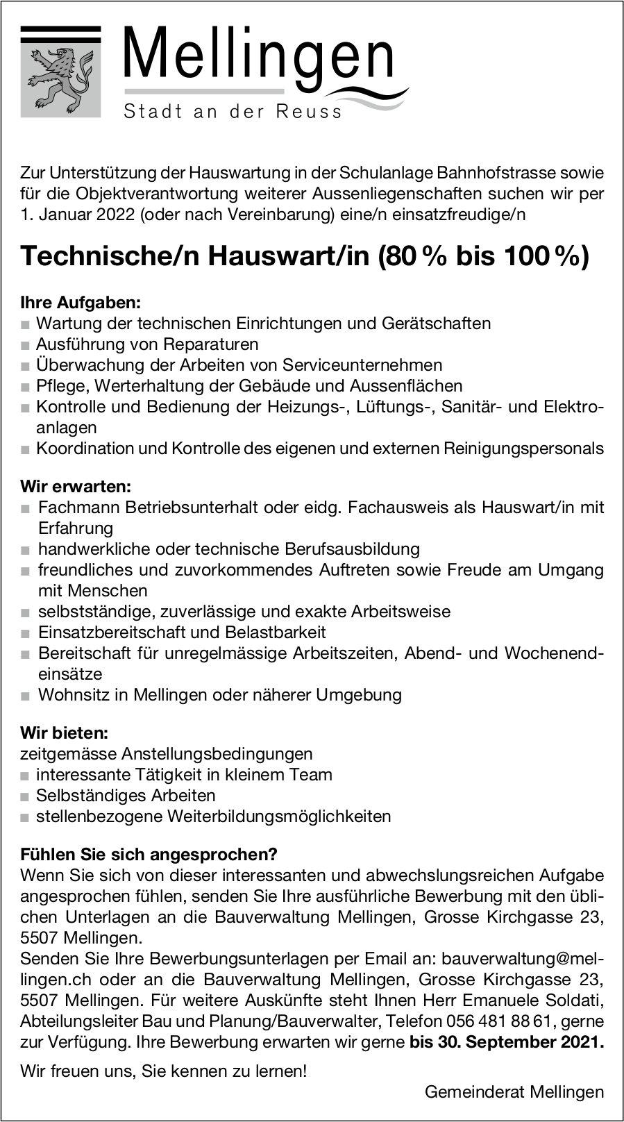 Technische/n Hauswart/in (80 % bis 100 %), Gemeinde, Mellingen, gesucht