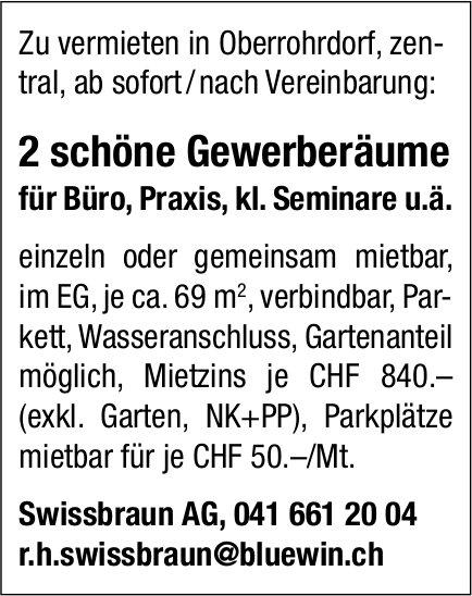 2 schöne Gewerberäume, Oberrohrdorf, zu vermieten