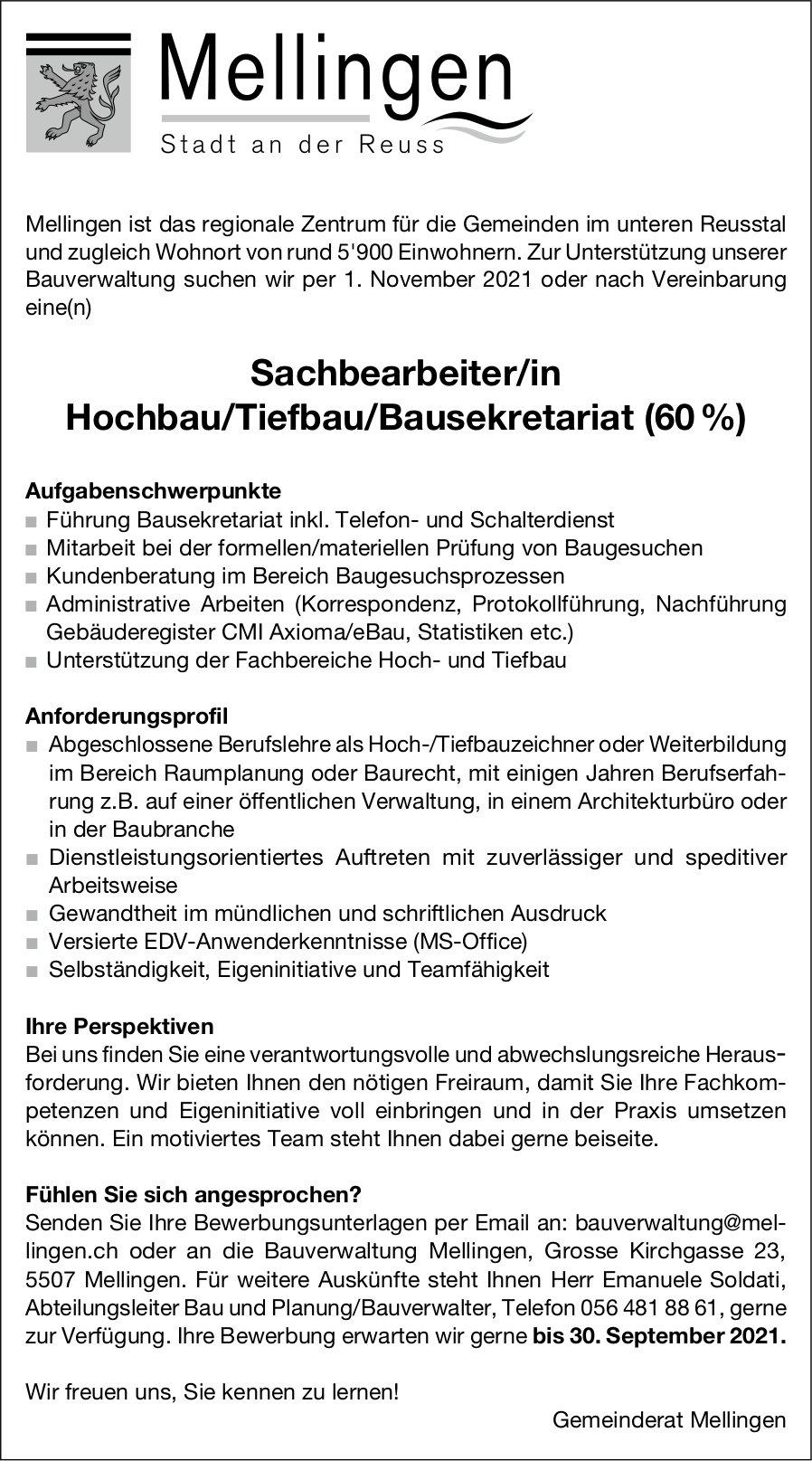 Sachbearbeiter/in Hochbau/Tiefbau/Bausekretariat (60 %), Gemeinde, Mellingen, gesucht