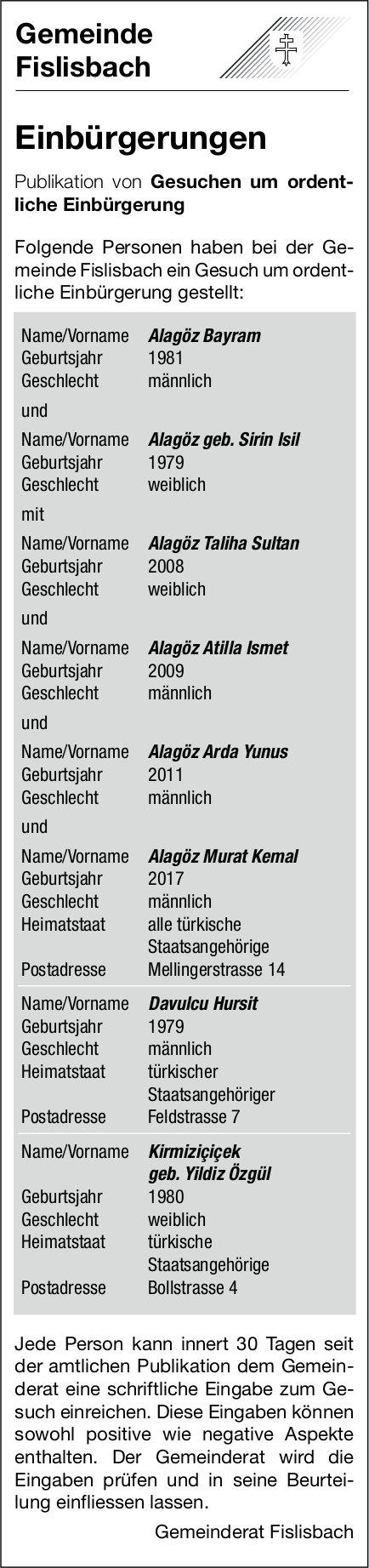 Fislisbach - Einbürgerungen