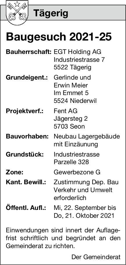Baugesuche, Tägerig - Gerlinde und Erwin Meier, Baugesuch 2021-25