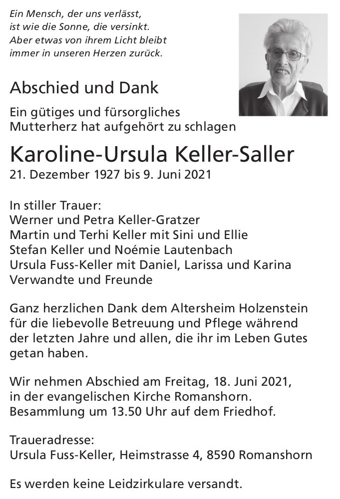 Keller-Saller Karoline-Ursula, im Juni 2021 / DS