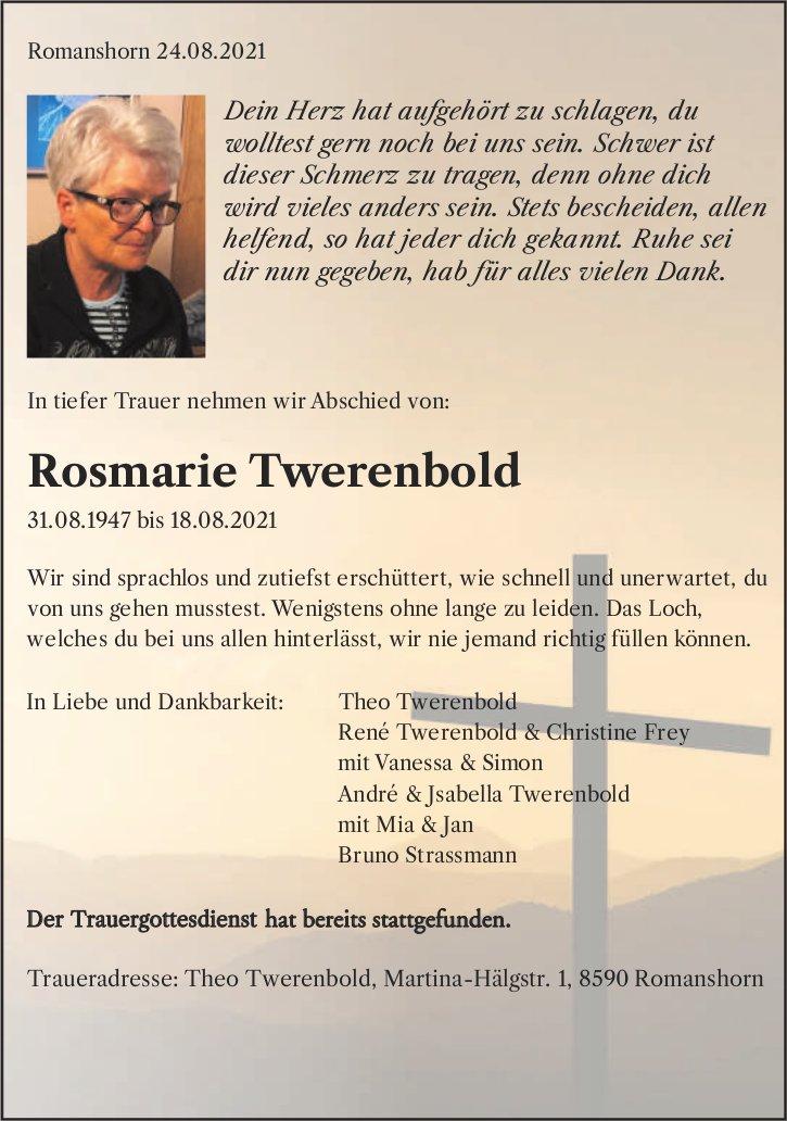 Twerenbold Rosmarie, August 2021, im September 2021 / TA + DS