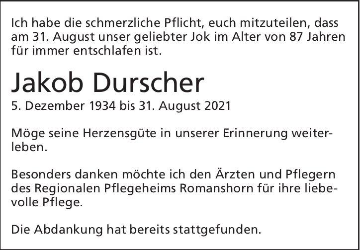 Durscher Jakob, August 2021, im September 2021 / TA + DS