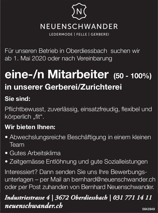 Mitarbeiter/in (50 - 100%), NEUENSCHWANDER,  Oberdiessbach, gesucht