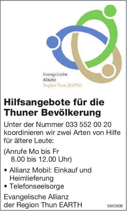 Evangelische Allianz der Region Thun EARTH, Thun - Hilfsangebote für die Thuner Bevölkerung