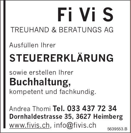 Fi Vi S TREUHAND & BERATUNGS AG, Heimberg - Ausfüllen Ihrer STEUERERKLÄRUNG...