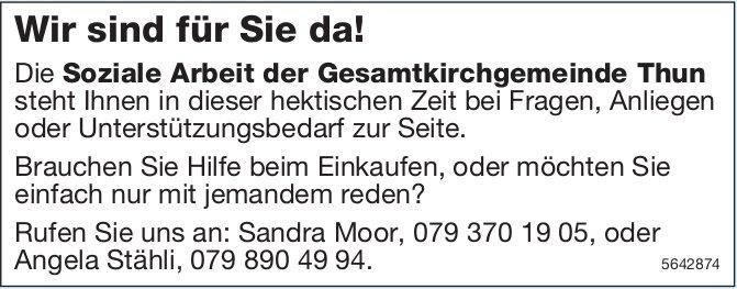 Die Soziale Arbeit der Gesamtkirchgemeinde Thun, Thun - Wir sind für Sie da!