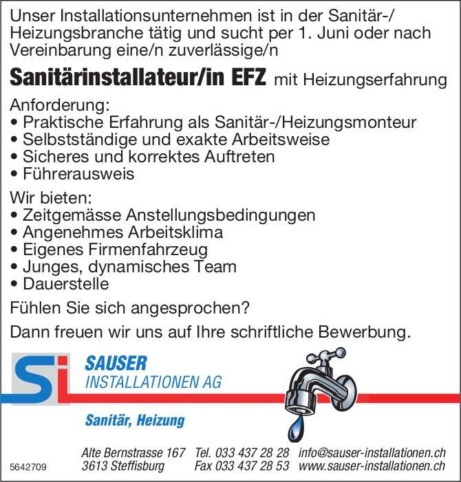 Sanitärinstallateur/in EFZ, SAUSER INSTALLATIONEN AG, Steffisburg, gesucht