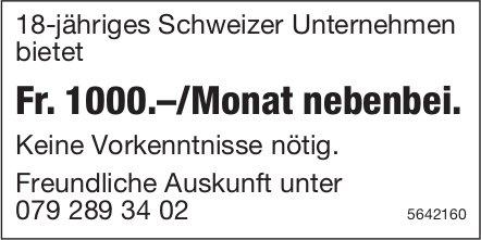 Schweizer Unternehmen, Fr. 1000.–/Monat nebenbei, zu vergeben