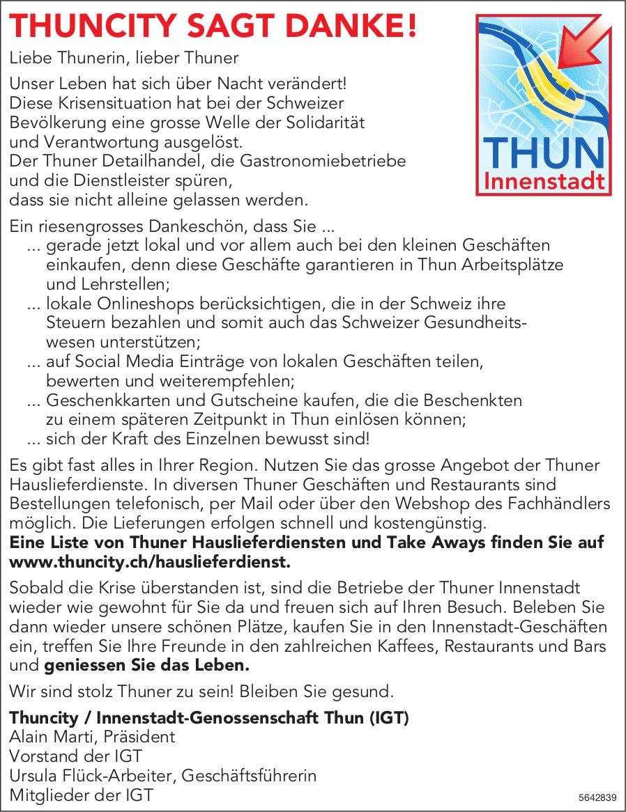 Thuncity/Innenstadt-Genossenschaft Thun (IGT) - Thun-THUNCITY SAGT DANKE!