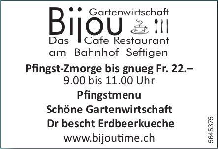 Bijou Gartenwirtschaft, Seftigen - Pfingst-Zmorge/ Pfingstmenu usw.