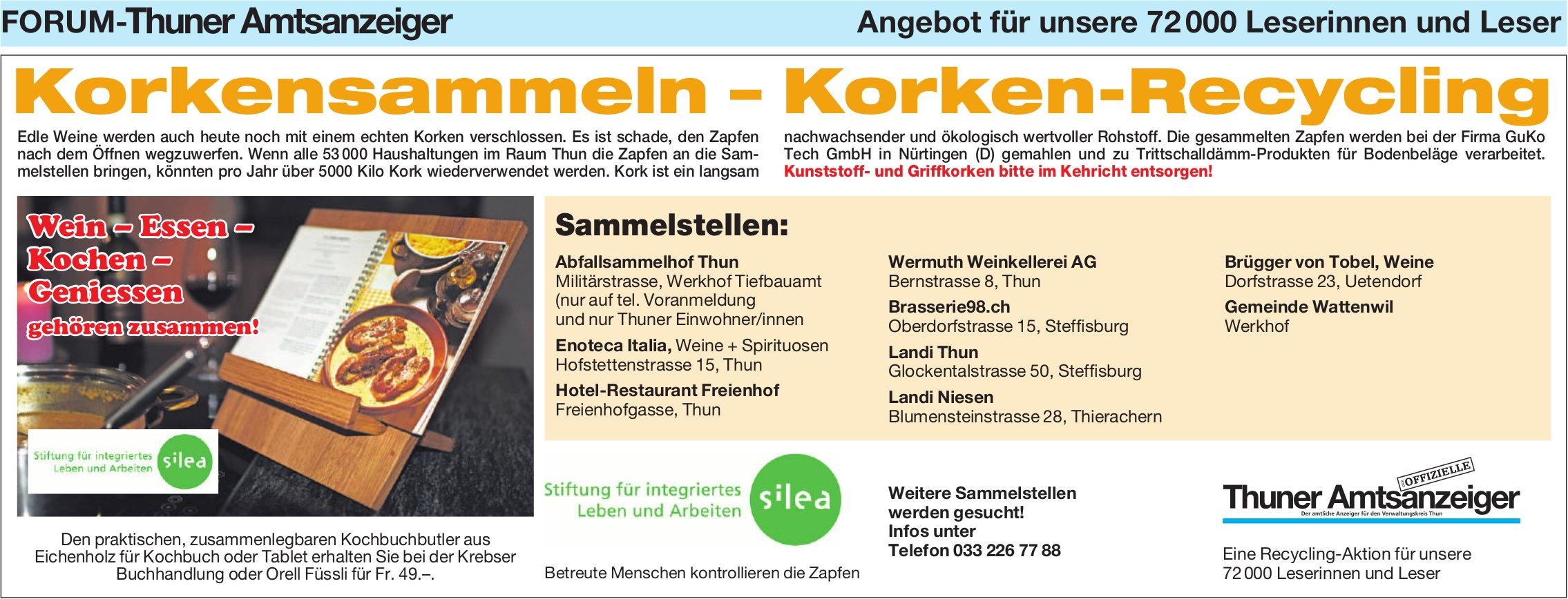 Forum-Thuner Amtsanzeiger - Korkensammeln – Korken-Recycling