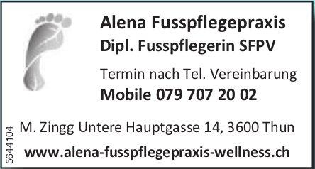 Alena Fusspflegepraxis, Thun - Alena Fusspflegepraxis, Dipl. Fusspflegerin SFPV