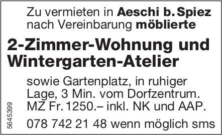 2-Zimmer-Wohnung und Wintergarten-Atelier, Aeschi b. Spiez, zu vermieten