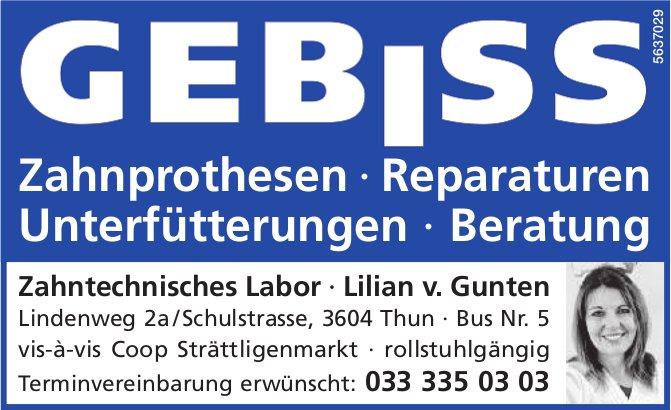 Zahntechnisches Labor Lilian v. Gunten, Thun - Zahnprothesen,  Reparaturen,  Unterfütterungen...