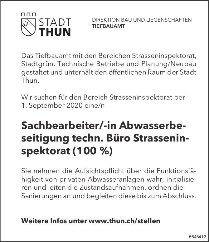 Sachbearbeiter/-in Abwasserbeseitigung techn. Büro Strasseninspektorat (100 %), Stadt, Thun, gesucht