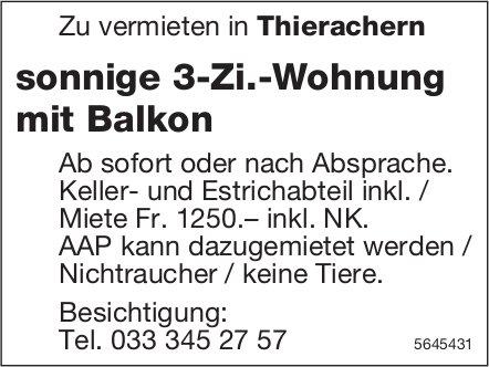 Sonnige 3-Zi.-Wohnung mit Balkon, Thierachern, zu vermieten
