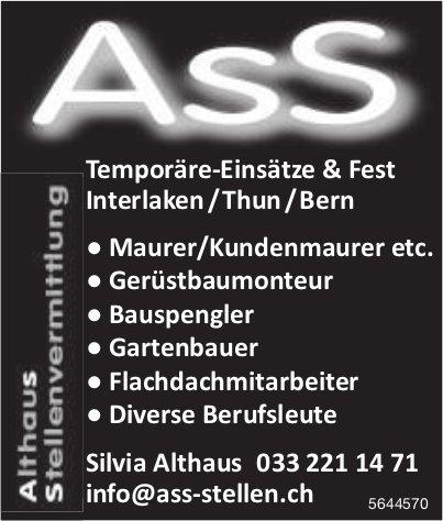 Temporäre-Einsätze & Fest Interlaken/Thun/Bern, Althaus Stellenvermittlung, zu vergeben