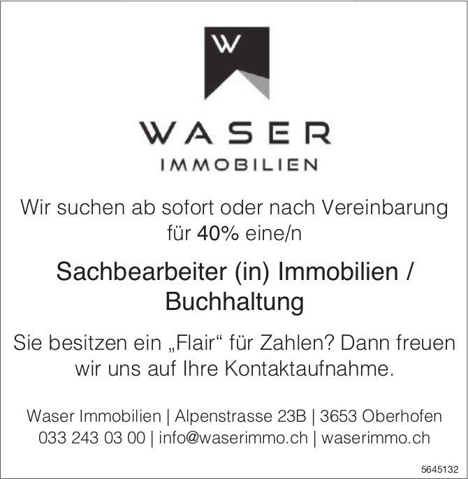 Sachbearbeiter (in) Immobilien / Buchhaltung, Waser Immobilien,  Oberhofen, gesucht