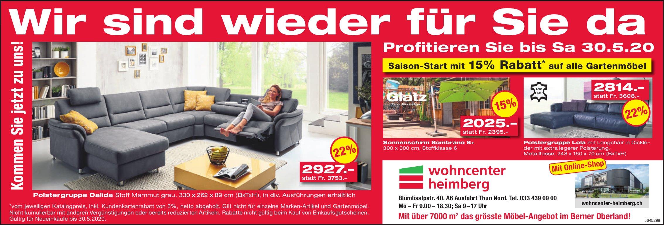 Wohncenter Heimberg - Wir sind wieder für Sie da