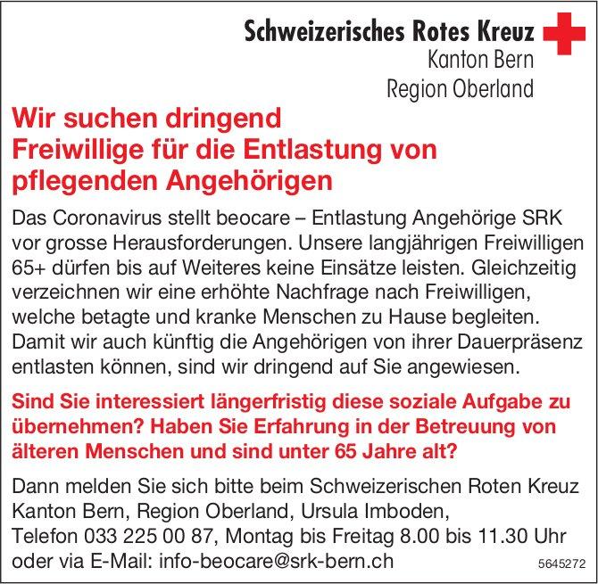 Freiwillige für die Entlastung pflegender Angehörigen, Schweizerisches Rotes Kreuz, Bern, gesucht