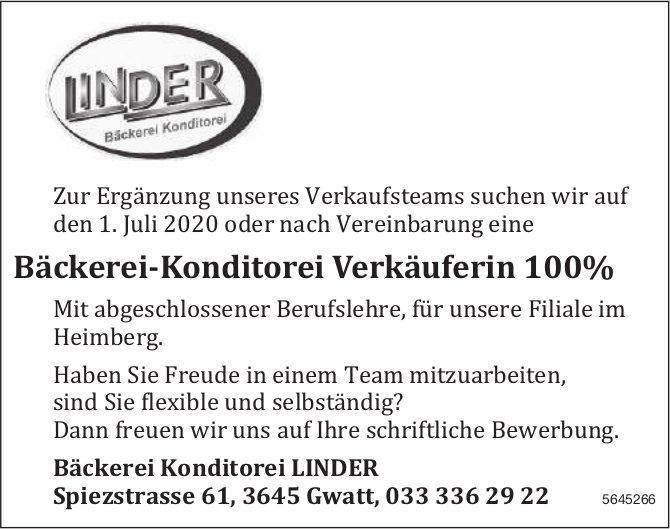 Bäckerei-Konditorei Verkäuferin 100%, Bäckerei Konditorei LINDER, Gwatt, gesucht