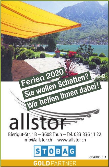 Allstor, Thun - Ferien 2020: Sie wollen Schatten? Wir helfen dabei!