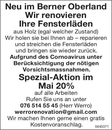Neu im Berner Oberland Wir renovieren Ihre Fensterläden: Spezial-Aktion im Mai 20%