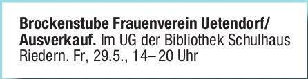 Brockenstube Frauenverein Uetendorf/ Ausverkauf.