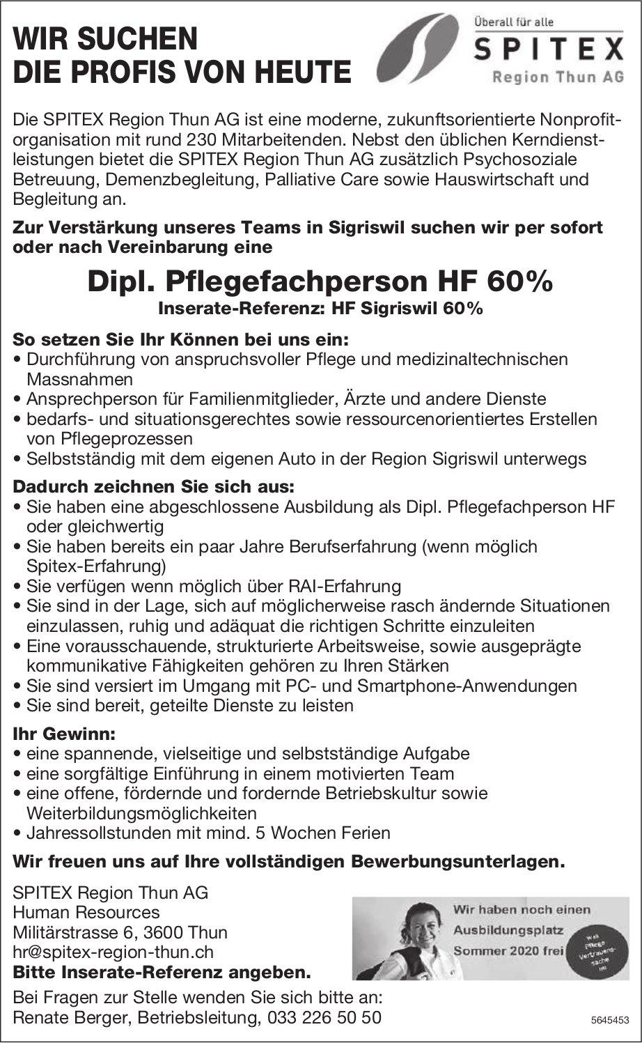 Dipl. Pflegefachperson HF 60%, SPITEX Region Thun AG, gesucht