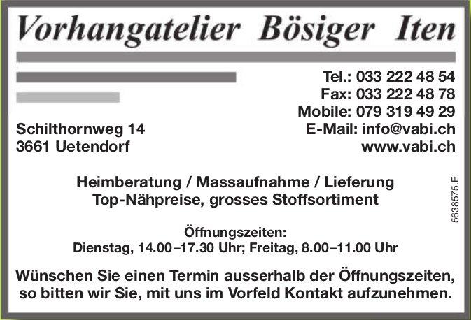 Vorhangatelier Bösiger Iten, Uetendorf - Heimberatung / Massaufnahme / Lieferung