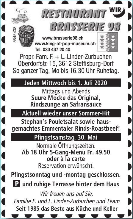 Aktuell wieder unser Sommer-Hit - Restaurant Brasserie 98,  Steffisburg,