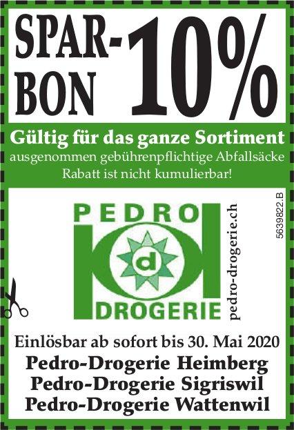 Pedro-Drogerien, Heimberg,  Sigriswil & Wattenwil - SPAR-BON 10%