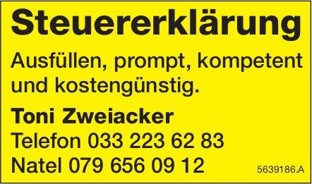 Toni Zweiacker, Steuererklärung - Ausfüllen,  prompt, kompetent und kostengünstig