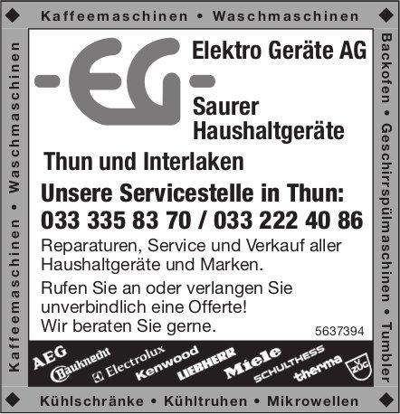 Elektro Geräte AG - Unsere Servicestelle in Thun